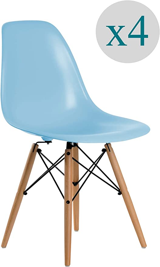 Aryana Home - Pack De 4 Silla Nórdica Premium Color Azul: Amazon ...
