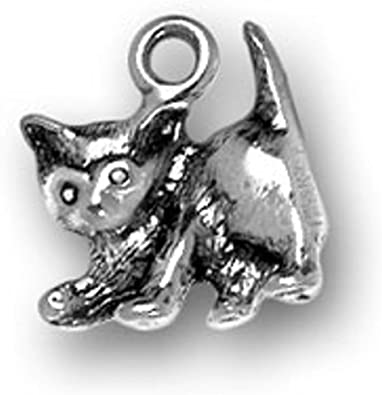 Sterling Silver Girls .8mm Box Chain 3D Baby Feline Kitten Playing Pendant Necklace
