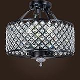 SwanHouse Crystal Chandelier Flush Mount Light Fixture Ceiling Lighting Modern Lamp 4 Lights CAD-KTT/D-4L-W14 BK