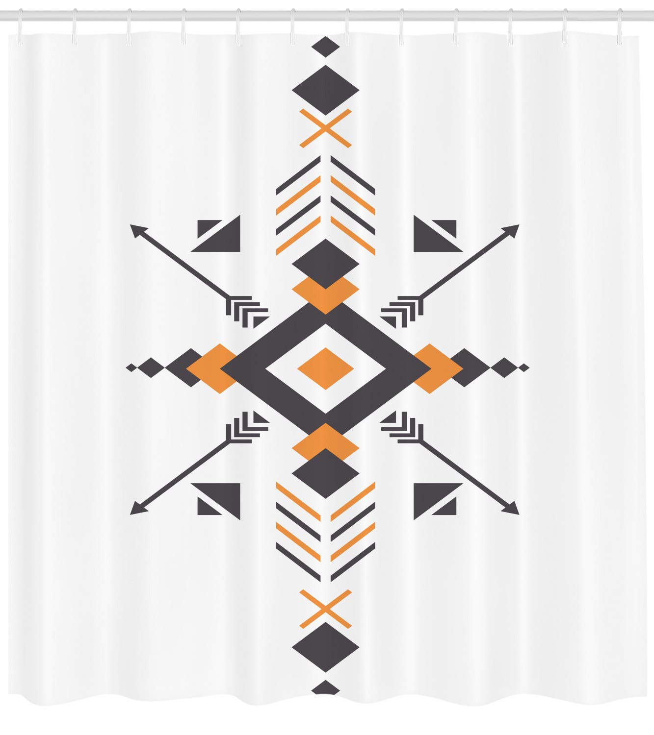 Lunarable aztec shower curtain by tribal ethnic design with hunting equipment and abstract geometric shapes print fabric bathroom decor set with hooks