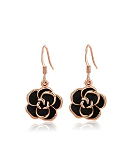 Women's Rose Gold Earrings Jewelry Stud Dangle Ear-Rings Black Roses