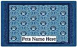 Drymate Personalized Pet Place Mat - Blue Paw Braid - Personalized Pet Food Mat (Medium - 12'' x 20'')