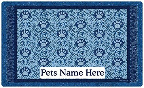 Drymate Personalized Pet Place Mat - Blue Paw Braid - Personalized Pet Food Mat (Medium - 12