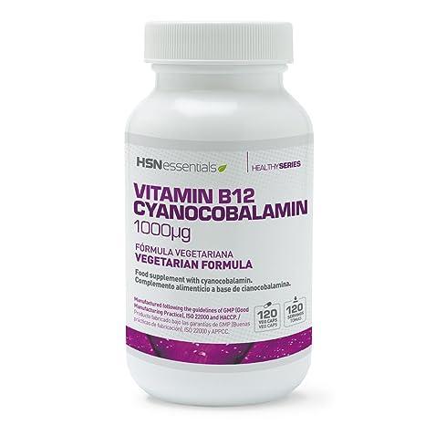 HSN Essentials - Vitamina B12 - 1000mcg - Forma de Cianocobalamina - 120 Cápsulas Vegetales