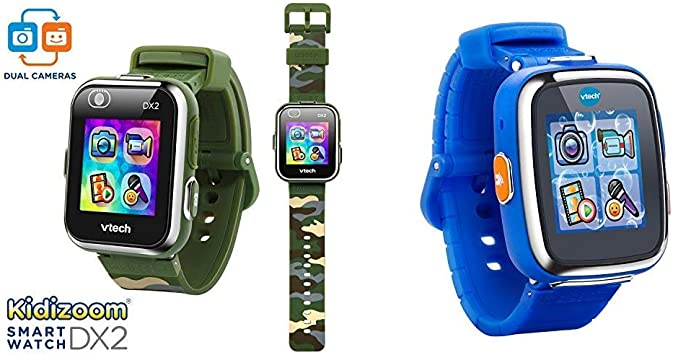 VTech KidiZoom Smartwatch DX2 Camouflage (Amazon Exclusive) & Kidizoom Smartwatch DX - Royal Blue