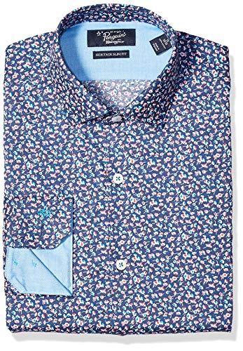 (Original Penguin Men's Slim Fit Spread Collar Fashion Dress Shirt, Medium Yellow Print, 16.5 32/33)