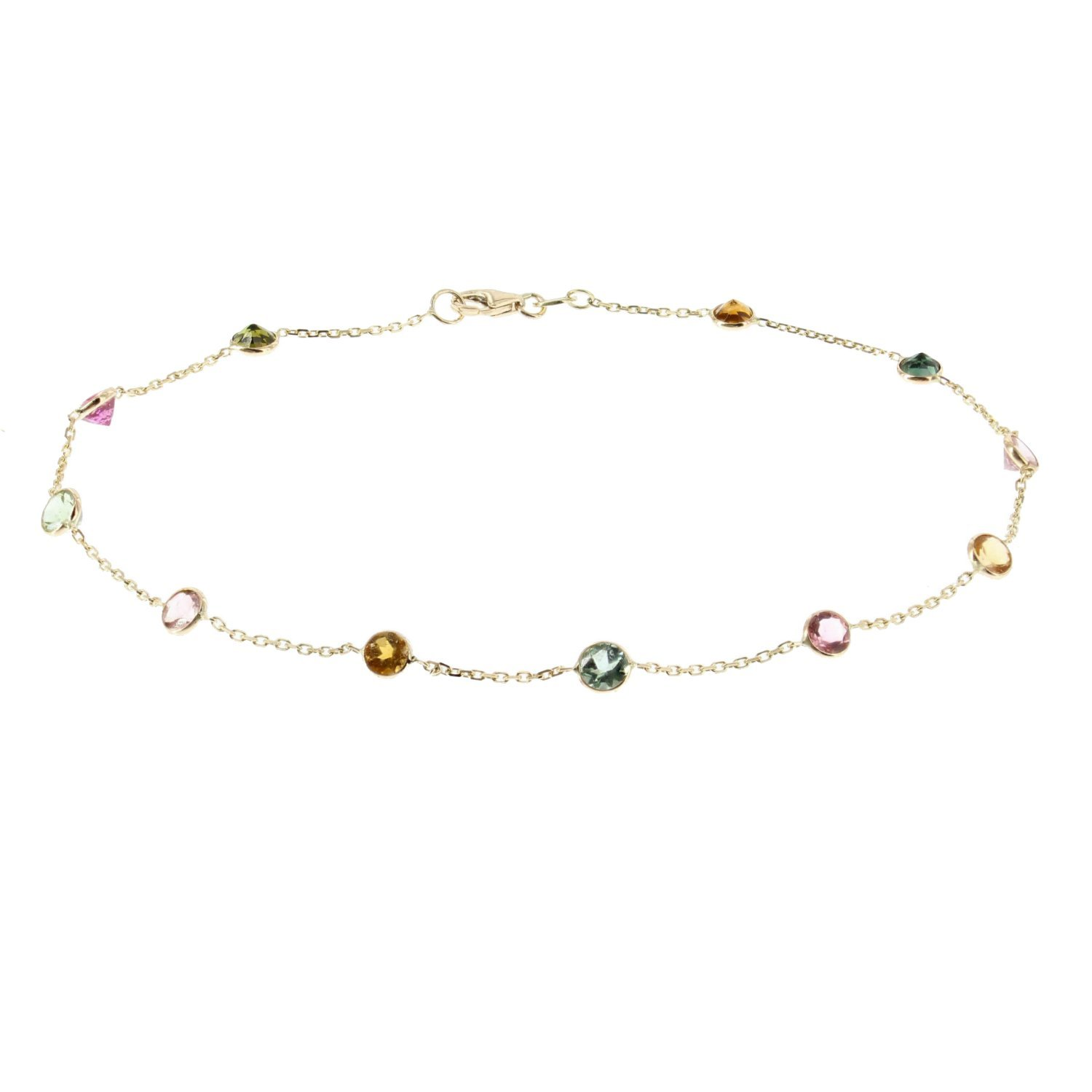 14k Yellow Gold Handmade Station Anklet With Tourmaline Gemstones 9 - 11 Inches