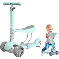 3 in 1 Kids Kick Scooter, 3 Wheels Walker with Removable Seat and, 4 Adjustable Height for Toddlers 1-8 Years Old Support 50 kg