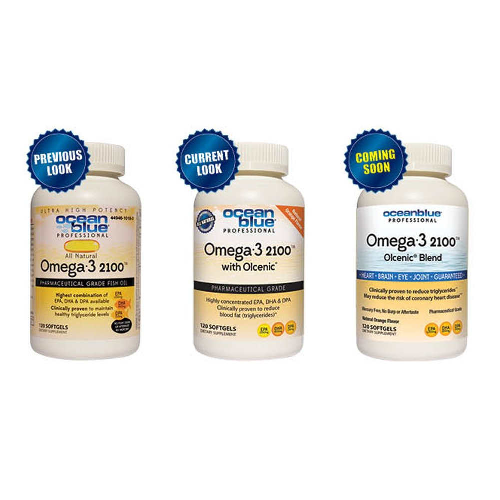 Ocean Blue Professional Omega-3 2100 Softgels. 120 Count (2 Pack). Supports Heart Health, Brain Health, Eye Health, Joint Health