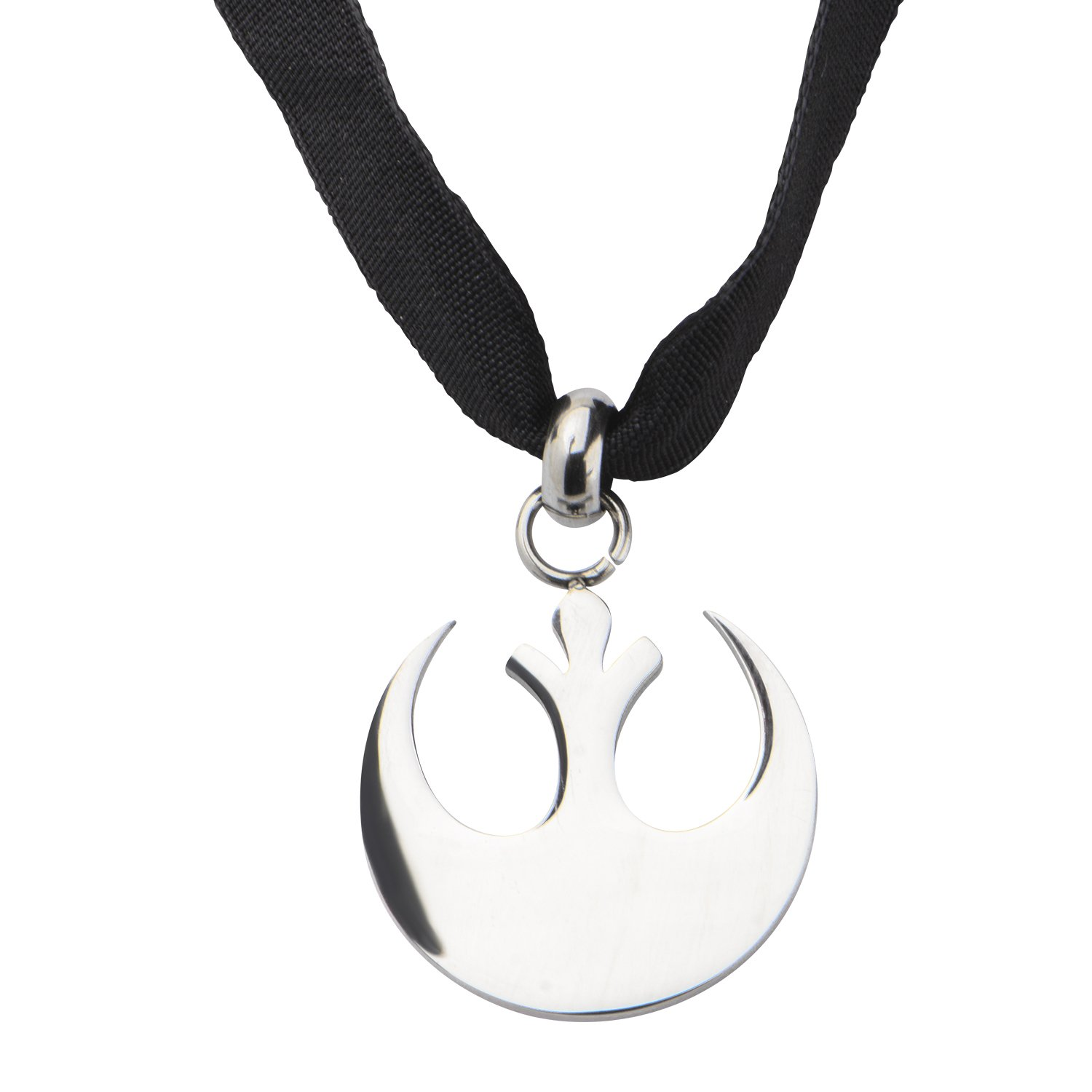 Star Wars Jewelry Women's Stainless Steel Small Cut Out Rebel Symbol Velvet Choker Necklace, Silver/Black, One Size