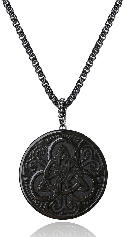 COAI Colgante de Obsidiana con Nudo Celta Incrustado