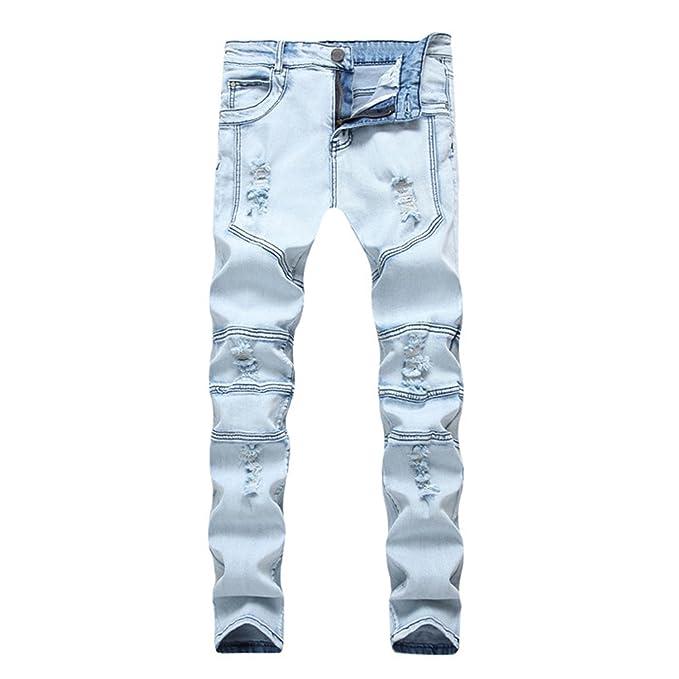 Amazon.com: George gubia de moda hombres Biker Jeans Ripped ...