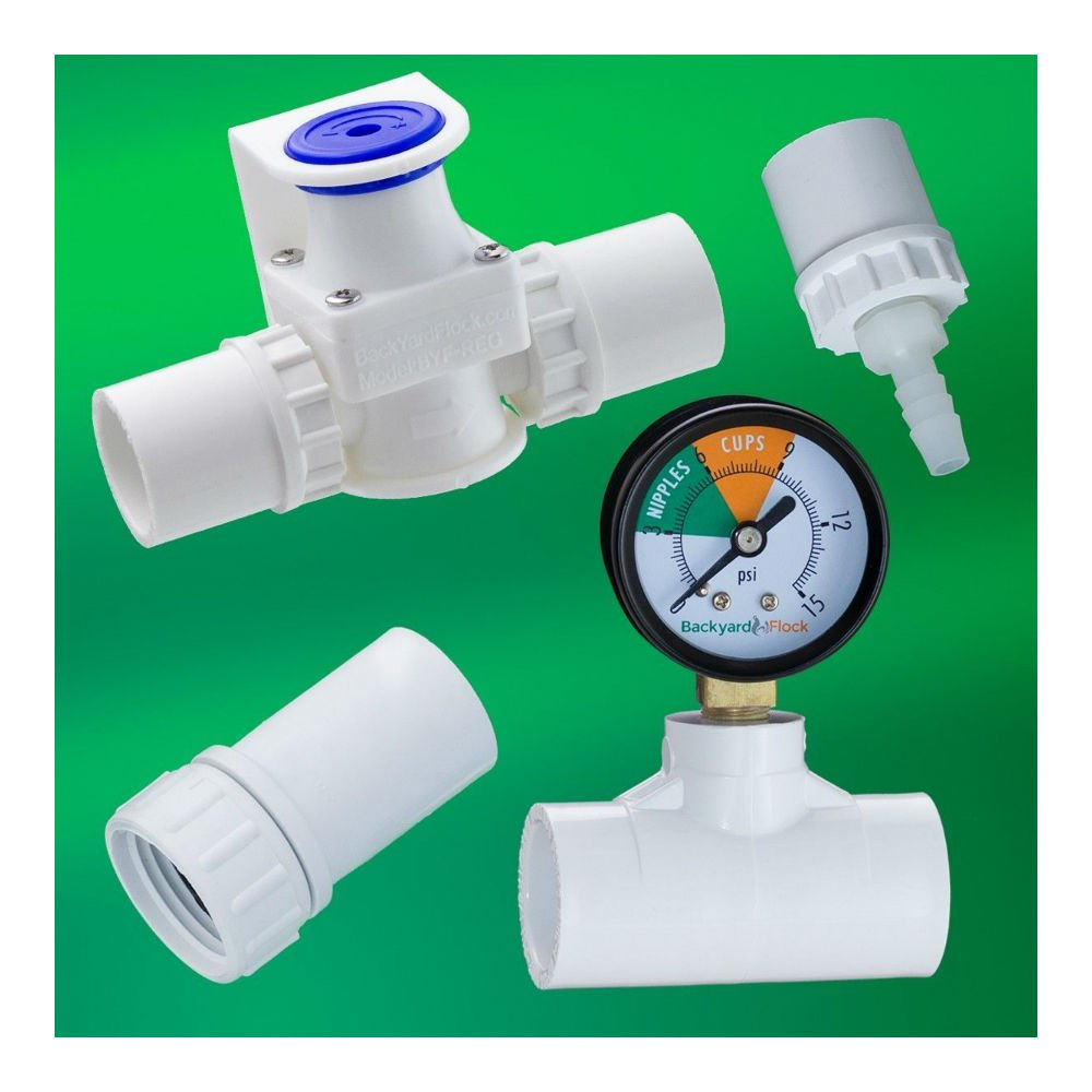 Regulator + Gauge, Hose Adpt, Barb for Chicken Cups / Nipples Watering System
