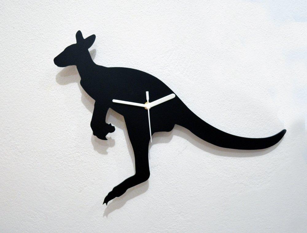 K/änguru-Silhouette Wanduhr