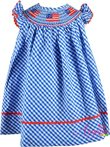 Boutique Clothing Girls USA America Flag Red White Blue Classic Bishop Dress (White Smocked Bishop)