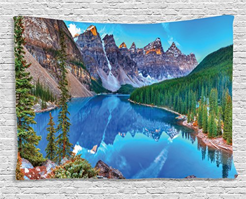 - Ambesonne Lake House Decor Collection, Moraine Lake Sunrise in Banff National Park Clear Sky Reflection Colorful Picture, Bedroom Living Room Dorm Wall Hanging Tapestry, 60 X 40 Inches, Blue Green