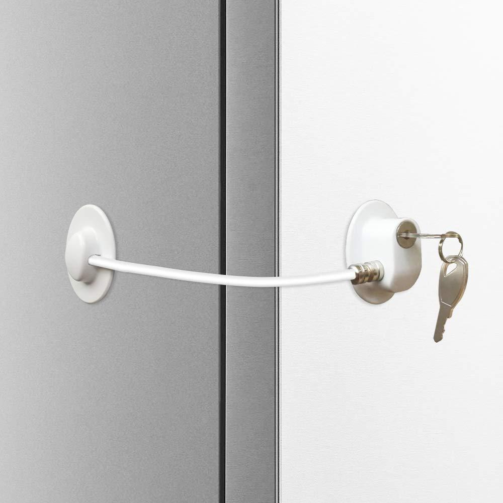 N-DT Refrigerator Door Lock with 2 keys – Refrigerator Door Lock Cabinet Lock Security Door Lock - White