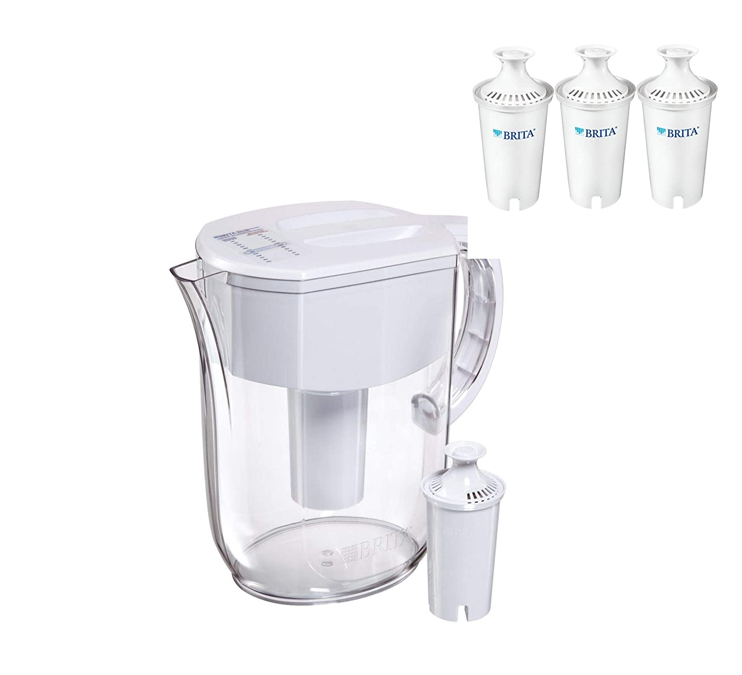 City Classified Comfort Brita Large 10 Cup Everyday Water Pitcher (Pitcher With 4 Filters)