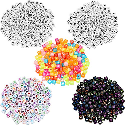 Cube Beads Mini (Leinuosen 1000 Pieces Letter Beads Alphabet Beads A - Z Bead Accessories for Jewelry Making, DIY Bracelet Necklace Key Chains, 5 Types)