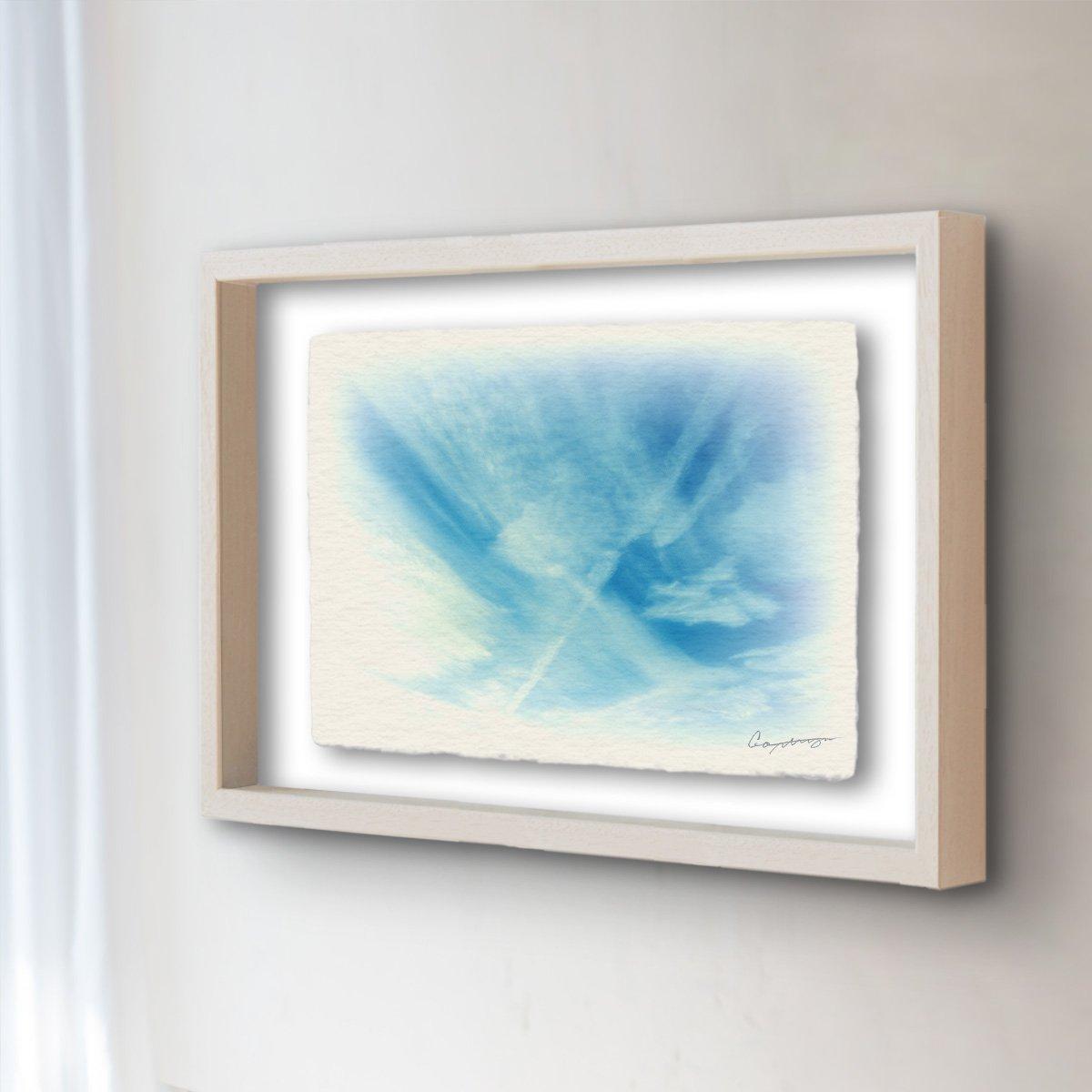 和紙 アートフレーム 「筋雲と飛行機雲」 (64x52cm) 絵 絵画 壁掛け 壁飾り 額縁 インテリア アート B074XP3Z2R 25.アートフレーム(長辺64cm) 120000円|筋雲と飛行機雲 筋雲と飛行機雲 25.アートフレーム(長辺64cm) 120000円