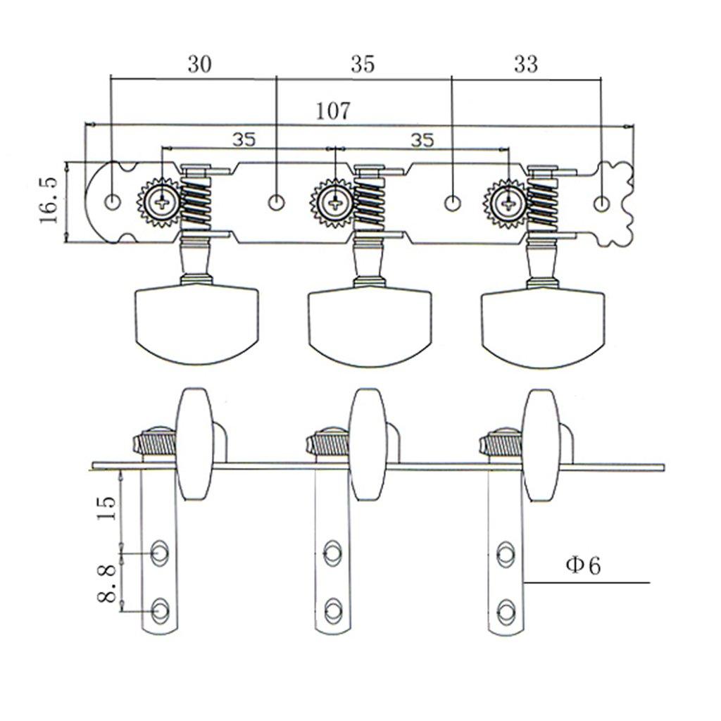 Vintage 3R3L Tuning Chevilles Tuner M/écaniques en Alliage de Zinc pour Guitare Electrique Kit de 6pcs Gazechimp Argent