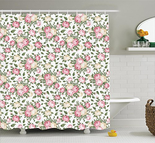 Ambesonne House Decor Collection, Roses Rosebuds Leaves Bouquet Flower Arrangements Bridal Victorian Style, Polyester Fabric Bathroom Shower Curtain, 75 Inches Long, Pink Green Ivory White (Curtains Green And Pink)