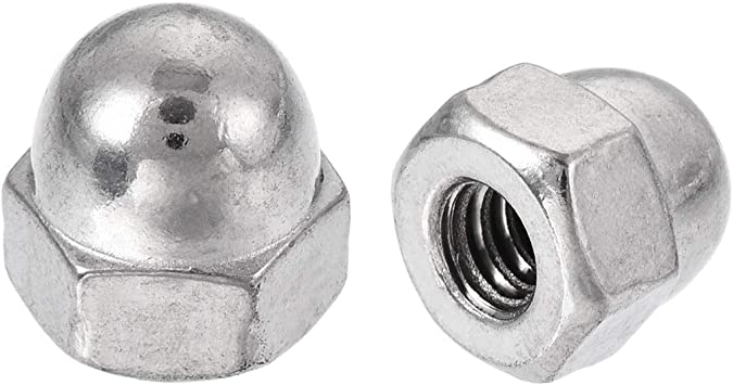 uxcell M3 Cap Nut Hex Acorn Dome Head Nuts for Screws Bolts Nylon White 10 Pcs