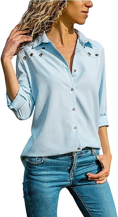 Blusa Mujer Caída Manga Larga Botón De Sólidos Vintage Frío Colores Hombro Top Camisetas Camisetas Vendimia Camisa Informal Tops Mujeres: Amazon.es: Ropa y accesorios