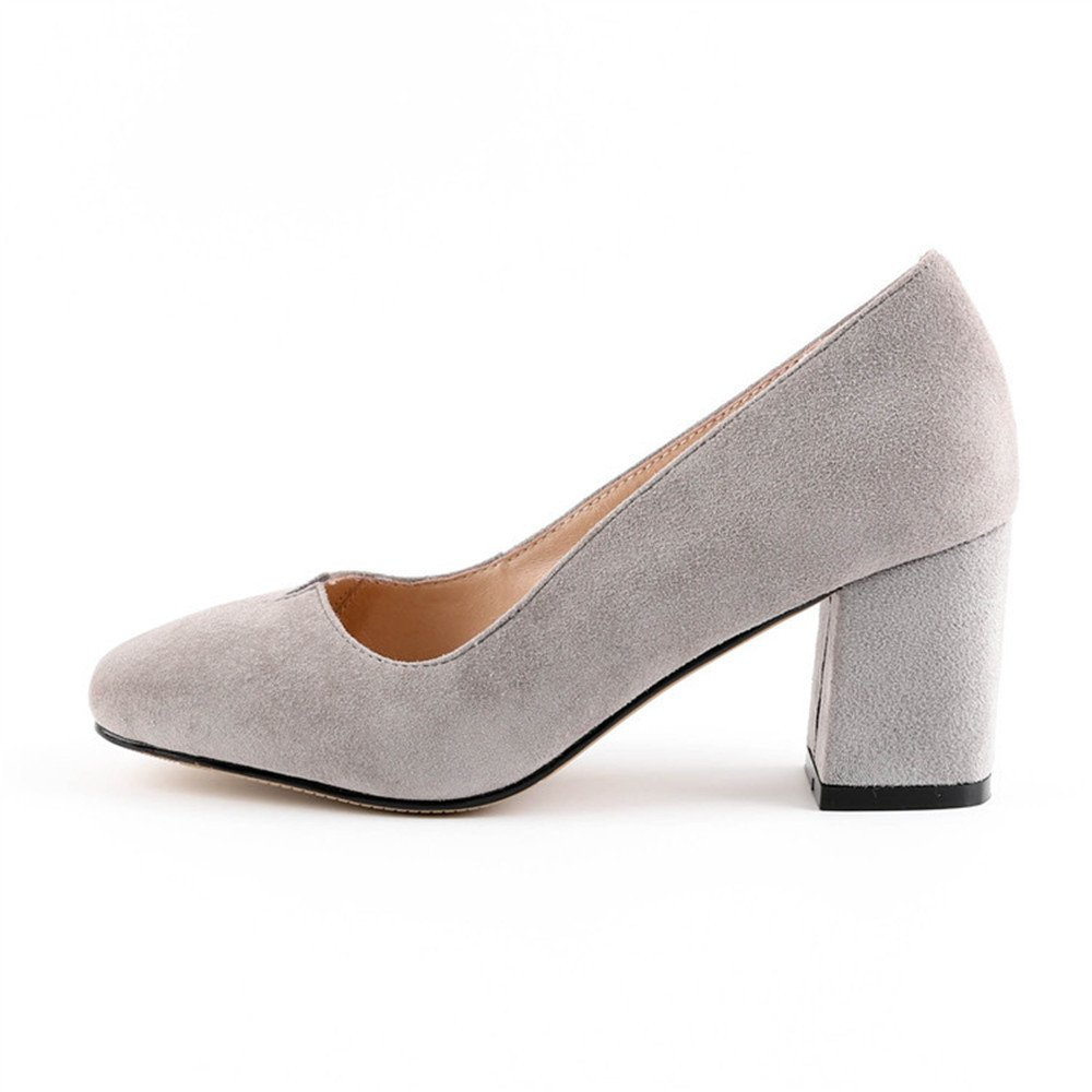 QXH Damenschuhe Sandalen Heel Flachen Mund Zeigt Mid Heel Sandalen Glänzende Baumwollstoff Grau e47338