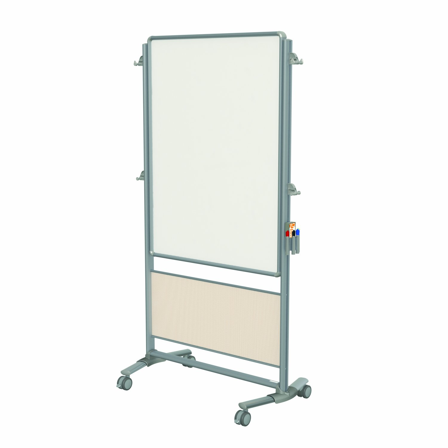 Ghent 76-1/8 x 40-3/8 Inches Nexus Easel, Double-Sided Mobile Porcelain Magnetic Whiteboard, Sand Mesh (NEX203ME-SM)