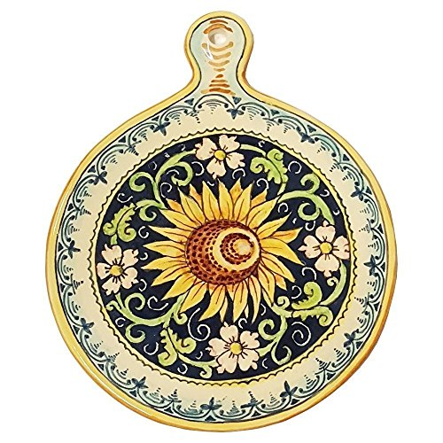 CERAMICHE PARRINI - Italian Ceramic Art Utensil Kitchenware Tile Trivet Pottery Sunflower Hand Painted Made in ITALY Tuscan ()