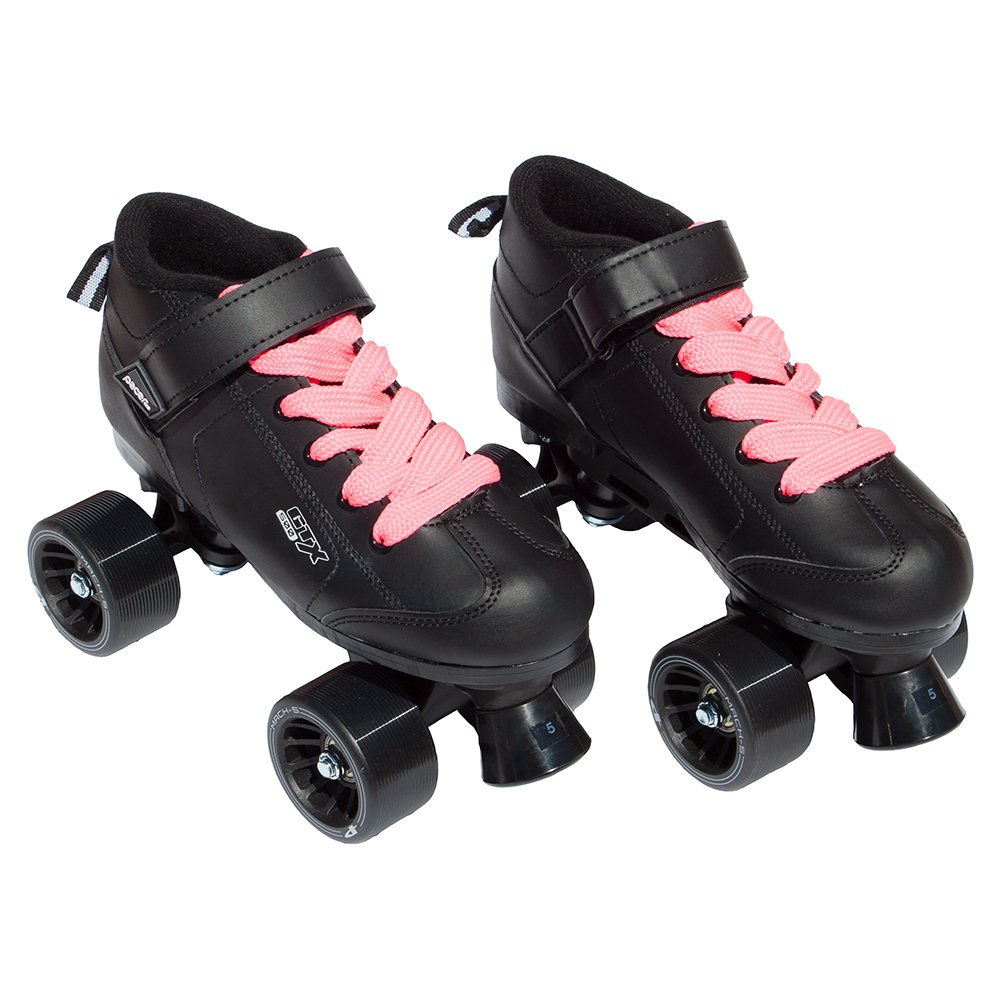 Pacer Mach-5 Black Pink Speed Skates - Mach5 GTX500 Quad Roller Skates,,Mens 6 / Ladies 7