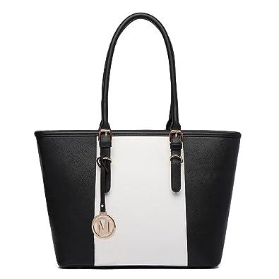 Miss LuLu Women s ladies Designer Celebrity Tote Bags Faux Leather Style  Medium Shoulder Shopper Adjustable Handles 4b52e905ac4f4