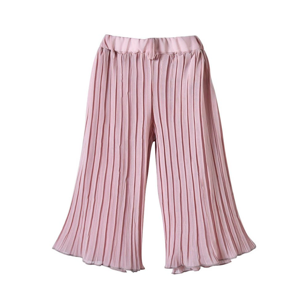 XUANOU Kids Sling Top Pleated Pants Two Piece Set Toddler Baby Girls Straps Lace Off Shoulder Tops Ruffle Pants Sets