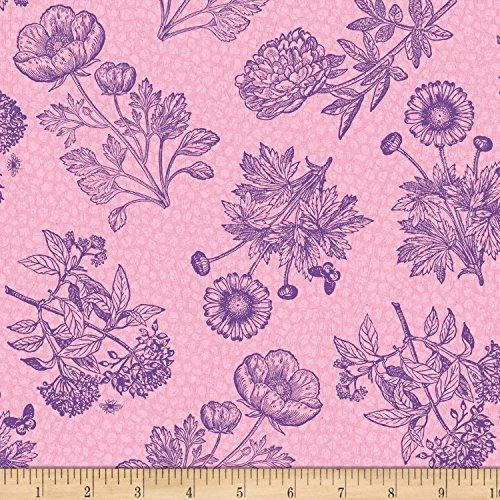 - Wilmington Prints Flower Show Toile Pink Fabric by The Yard