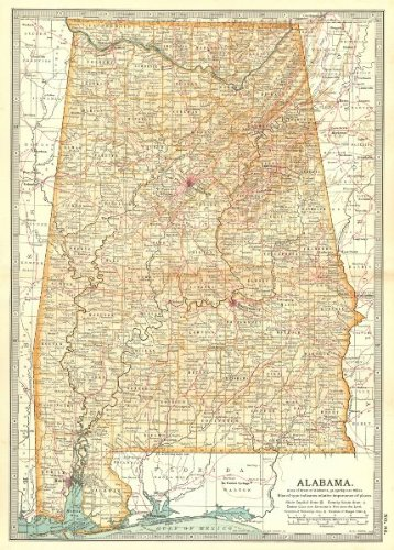 (ALABAMA. State map. Counties. Shows civil war battlefields. Britannica - 1903 - old map - antique map - vintage map - Alabama maps)