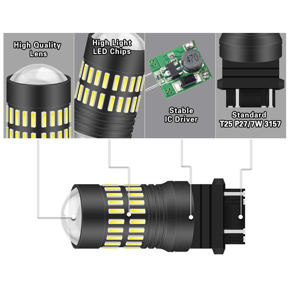 NATGIC 1157 BAY15D 1034 7528 Ampoules LED Blanc xenon 1200LM 48-SMD 4014 LED avec projecteur pour feu de position arri/ère pour marqueur de frein arri/ère