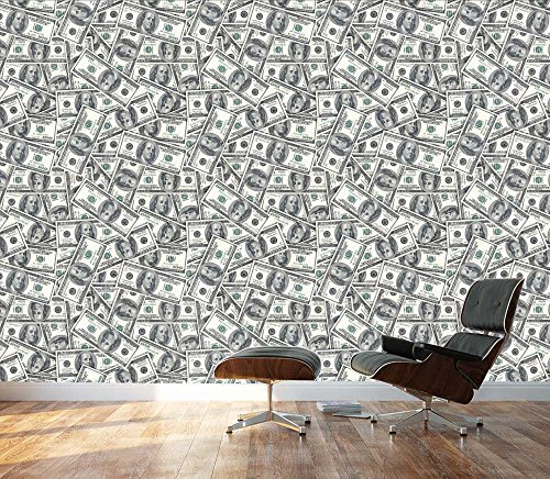 wall26 - 100 Dollar Bills Collage Background - Large Money Wall Mural, Removable Peel and Stick Wallpaper, Home Decor - 100x144 inches (Wallpaper $100 Bill)