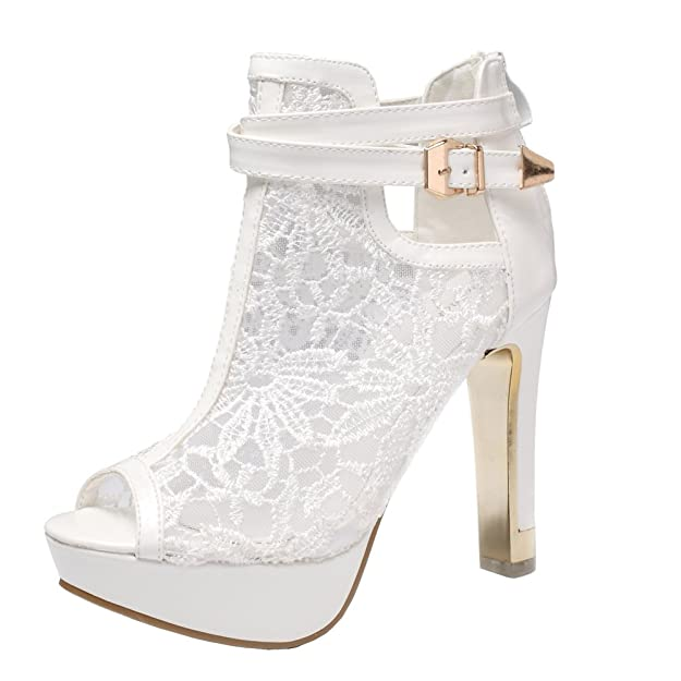 Getmorebeauty Women's White Pretty Lace Flowers Open Toes High Heels Ankle Boots 7 B(M) Us by Getmorebeauty
