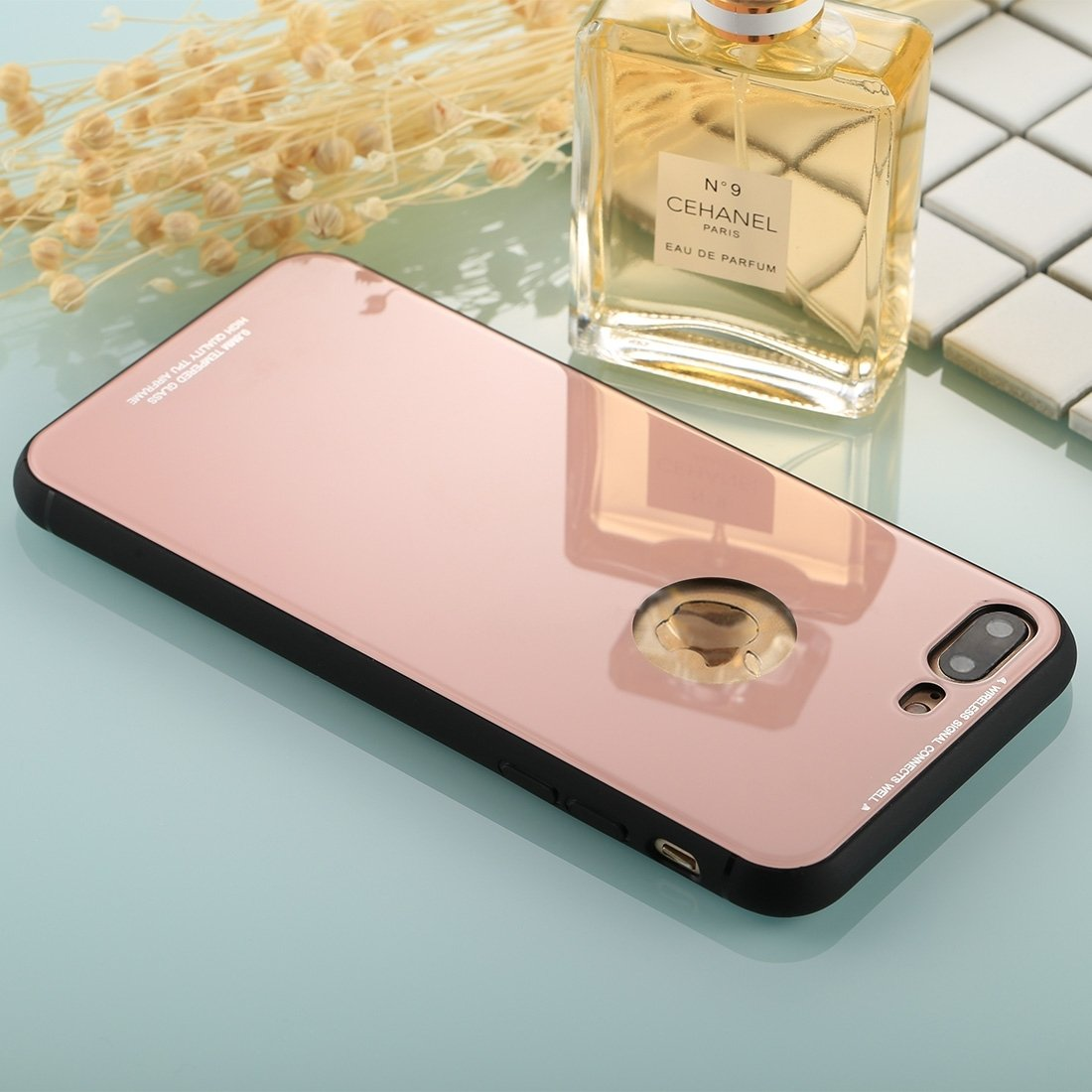 XACQuanyao pour iPhone 8 Plus et 7 Plus 0.8mm Verre Tremp/é Haute Qualit/é TPU Housse de Protection Arri/ère de Protection Couleur : Or Rose