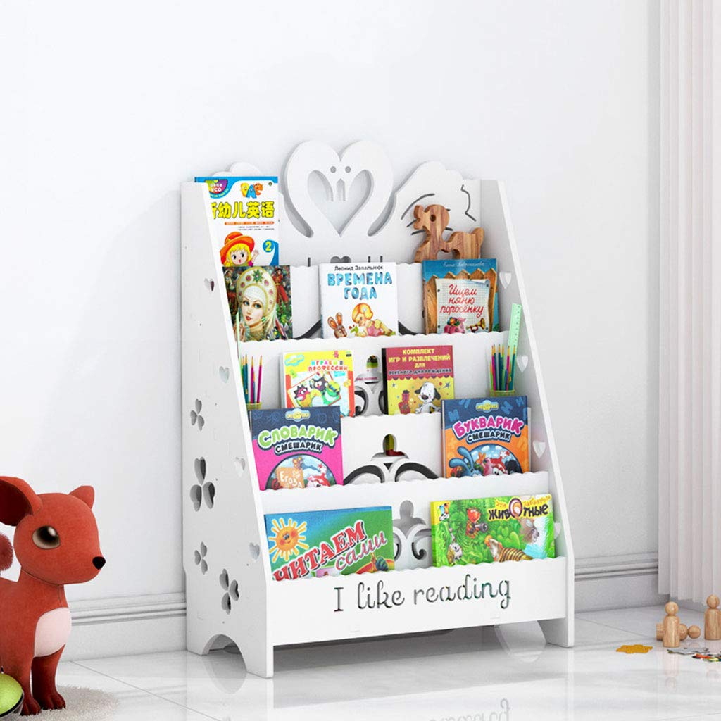 ahorra 50% -75% de descuento blanco Small FLYSXP Estantería de de de Dibujos Animados Tallado álbum Sala de EEstrella Soporte de Almacenamiento en el Suelo Soporte de exhibición Niños Leyendo estantería 60x32x90cm librero (Color   blanco, Talla   S)  más orden