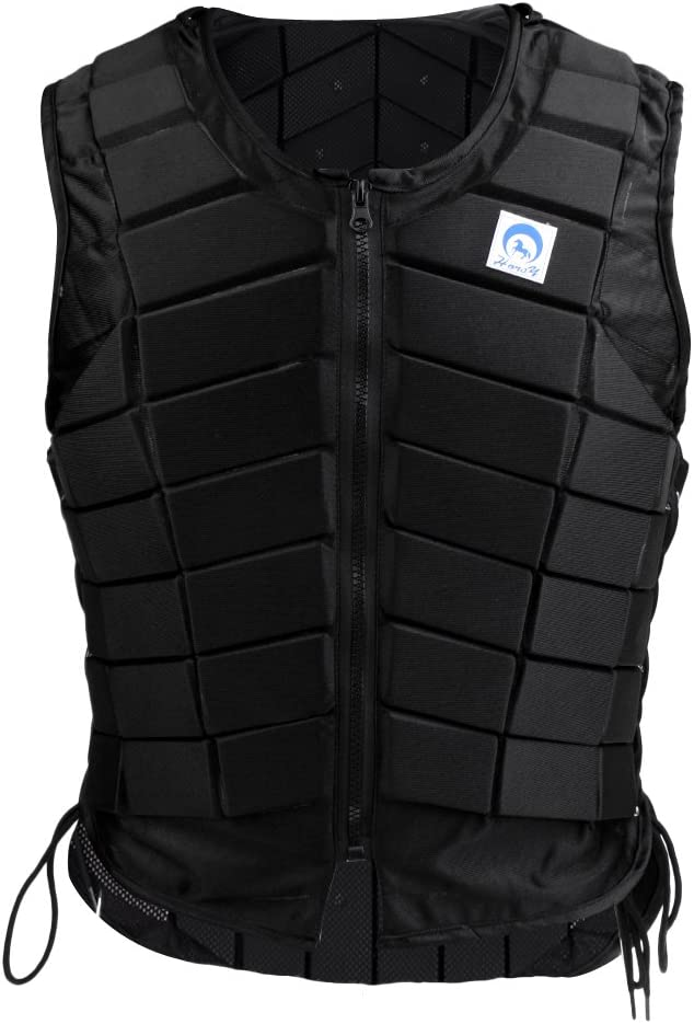 menolana Horse Riding Safety Eventing Equestrian Protective Vest Body Protector for Adults Boys and Girls, Equine Equestrian Equipment Supplies, Black : Sports & Outdoors