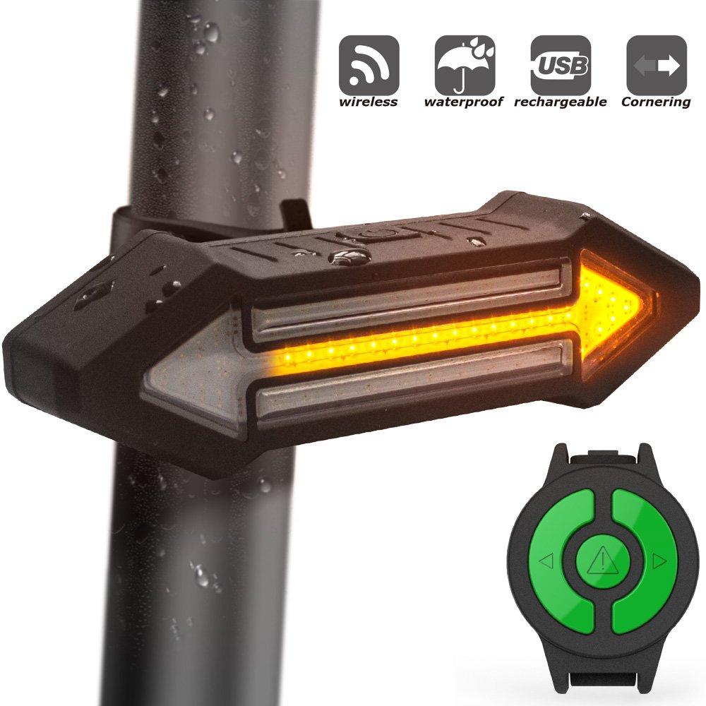 Luz Trasera para Bicicletas HAHAKEE Control Remoto Inalámbrico,Luz de Giro y Luz de Advertencia como las de Automóviles,A Prueba de Agua y ...