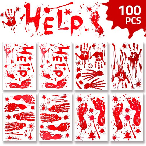 Vampire Halloween Party Decorations (WAASII Halloween Decorations Window Decals Wall Stickers,Bloody Handprint Footprint Stickers Floor Clings,Horror PVC Stickers Decals for Halloween Vampire Zombie Party Decorations)