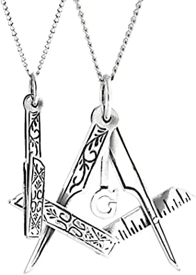 Masonic Freemasonry Ladies Gift Silver Pendent with G