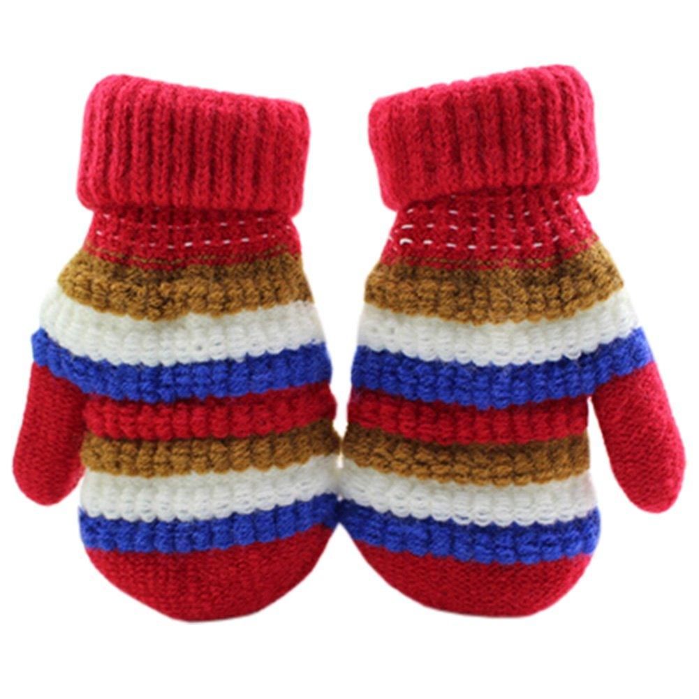1 Pair Children's Winter Gloves knitted&Warm Mittens (2-5 Years) Stripe Red Blancho Bedding