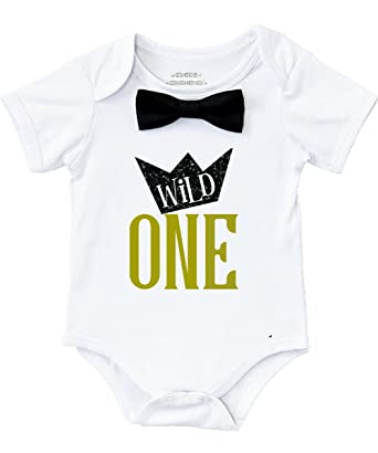 3a76cd91f Noah's Boytique Wild One Boys First Birthday Shirt Outfit Boy with Black  Bow Tie and Gold