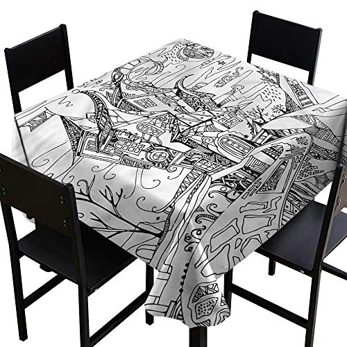 Sketchy Washable Tablecloth Cartoon Witch Halloween Party Decorations Table Cover Cloth 70 x 70 Inch ()