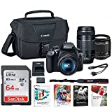 Canon EOS Rebel T6 DSLR Camera with 18-55mm and 75-300mm Lenses and Bag + 64GB Memory Card and Software Bundle For Sale