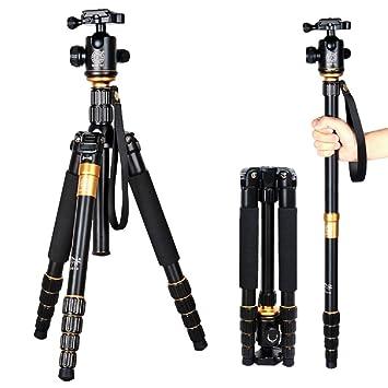 Morjava® Q555 profesional portátil magnesio aleación de aluminio Trípode monopié y cabezal de rótula para cámaras réflex digitales cámara réflex Canon Nikon ...